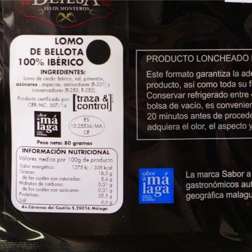 Lomo de bellota bérico loncheado Málaga Gourmet Experience